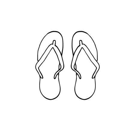 Vector hand drawn doodle sketch beach slippers isolated on white background