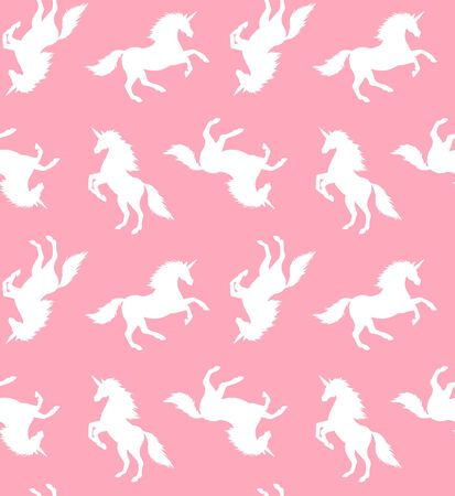 Vector seamless pattern of sketch white unicorn silhouette isolated on pink background