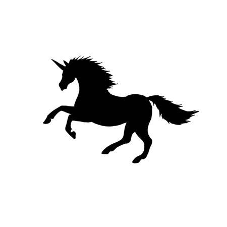 Vector black flat unicorn silhouette isolated on white background Illustration