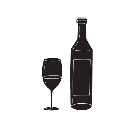 Vector hand drawn doodle sketch black wine bottle and glass isolated on white background Векторная Иллюстрация
