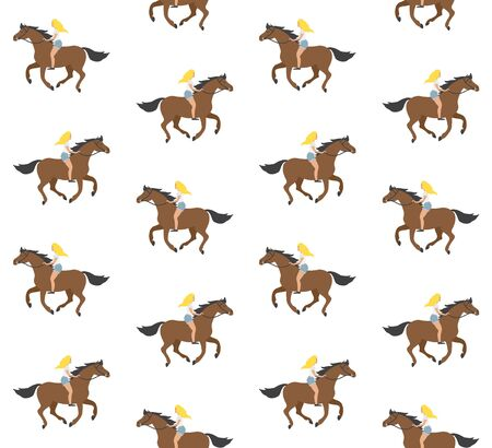 Vector seamless pattern of flat cartoon hand drawn blond girl riding brown horse bareback isolated on white background 일러스트