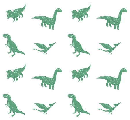Vector seamless pattern of hand drawn doodle sketch different green dinosaur isolated on white background