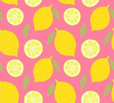 Vector seamless pattern of yellow colored hand drawn doodle sketch lemon isolated on pink background Vettoriali