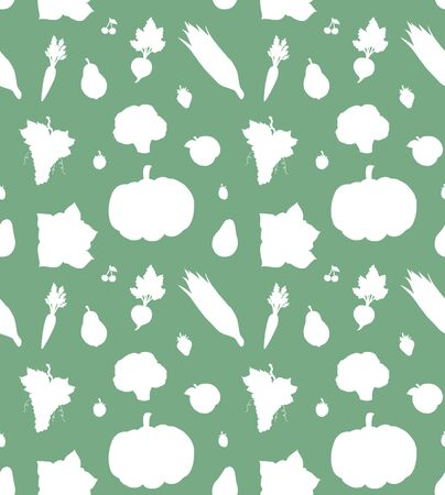 Vector seamless pattern of white doodle fruit and vegetables silhouette isolated on green mint background Illustration