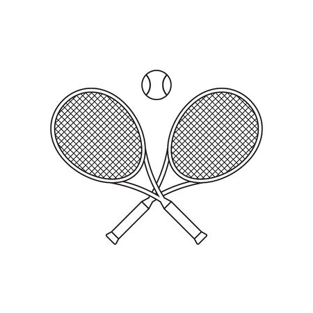 Vector flat crossed outline tennis racket and ball isolated on white background