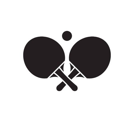 Vector flat black  table tennis crossed rackets and ball icon isolated on white background Vectores