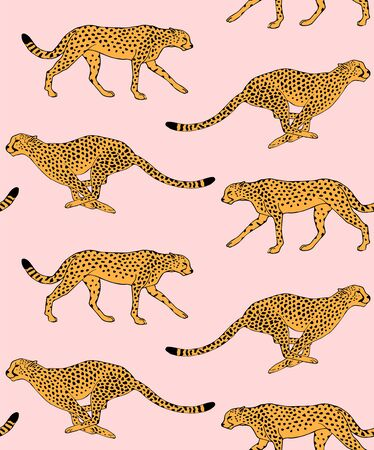 Vector seamless pattern of hand drawn doodle sketch leopard cheetah isolated on pink background Illustration