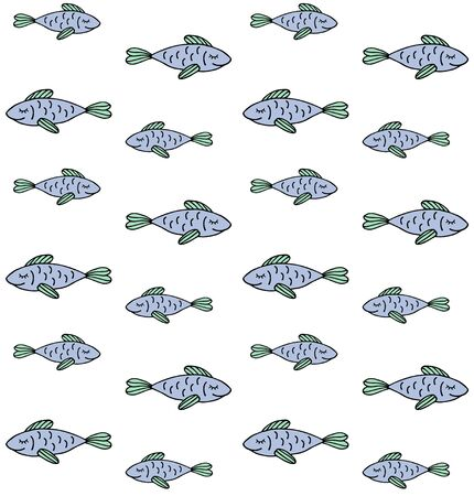 Vector seamless pattern of colored hand drawn doodle sketch fish isolated on white background Vettoriali