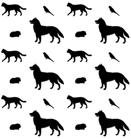 Vector seamless pattern of black sketch pets animals silhouette isolated on white background