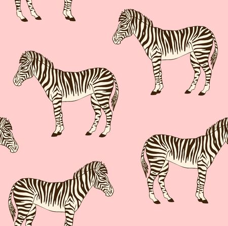 Vector seamless pattern of brown hand drawn doodle sketch zebra isolated on pink background