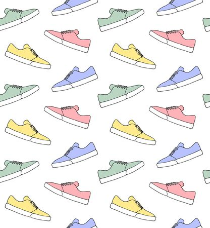 Vector seamless pattern of different color hand drawn doodle sketch skate sneaker shoe isolated on white background Stock Illustratie