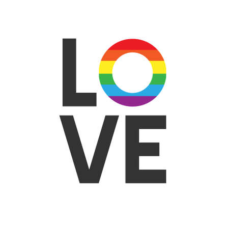 Vector flat cartoon lgbt rainbow flag love lettering isolated on white background
