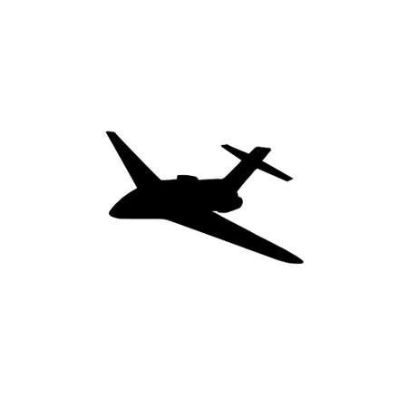 Vector black flying airplane plane silhouette isolated on white background Illusztráció