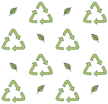Vector seamless pattern of hand drawn doodle sketch recycle reuse eco green symbol and leaves isolated on white background