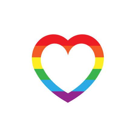 Vector flat cartoon lgbt rainbow flag heart frame isolated on white background
