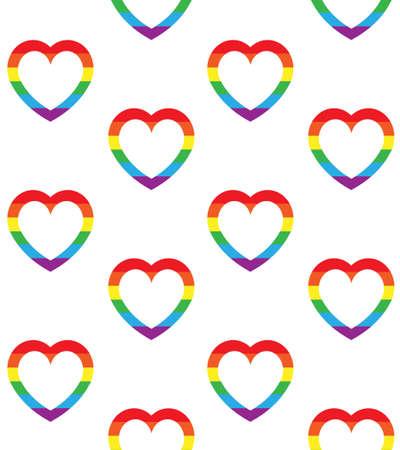 Vector seamless pattern of flat cartoon lgbt rainbow flag heart frame isolated on white background Çizim