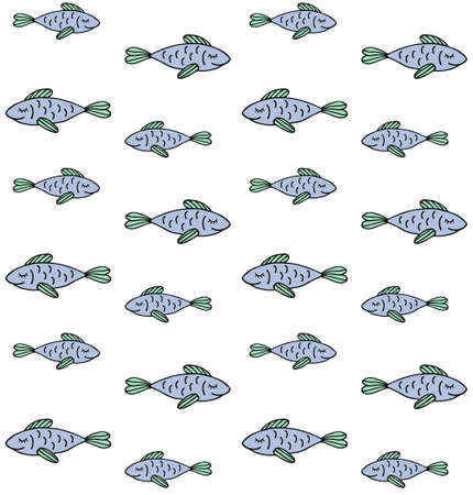 Vector seamless pattern of colored hand drawn doodle sketch fish isolated on white background Illusztráció