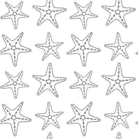 Vector seamless pattern of hand drawn doodle sketch sea star starfish isolated on white background