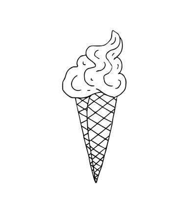Vector hand drawn doodle sketch black ice cream isolated on white background
