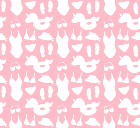 Vector set bundle of white doodle sketch beach suit and accessories silhouette isolated on pink background Illusztráció