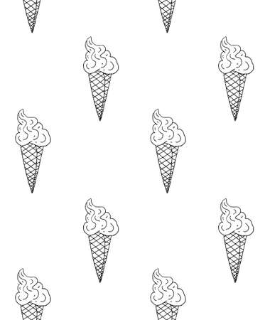 Vector seamless pattern of black hand drawn doodle sketch ice cream isolated on white background Illusztráció