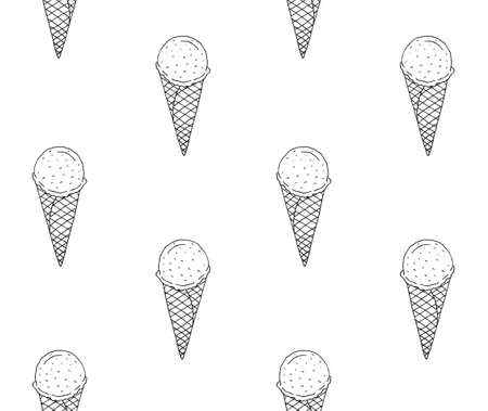 Vector seamless pattern of hand drawn doodle sketch ice cream isolated on white background Illusztráció