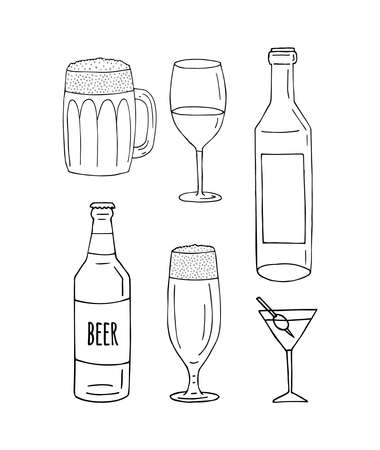 Vector set bundle of hand drawn doodle sketch different alcohol bottles and glasses isolated on white background Illusztráció