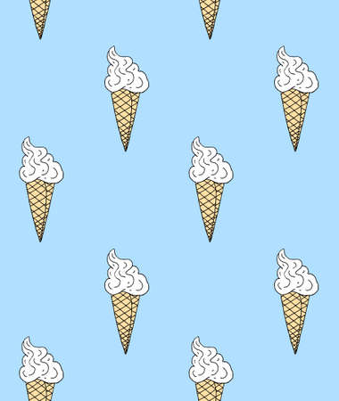 Vector seamless pattern of hand drawn doodle sketch ice cream isolated on blue background