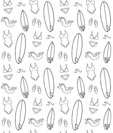 Vector seamless pattern of hand drawn doodle sketch beach surf and swimming suit and accessories isolated on white background