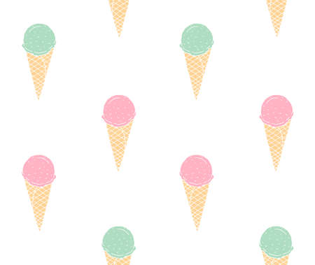 Vector seamless pattern of hand drawn doodle sketch pink and mint ice cream isolated on white background Illusztráció