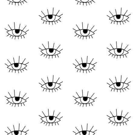 Vector seamless pattern of hand drawn doodle sketch black eye isolated on white background Illusztráció