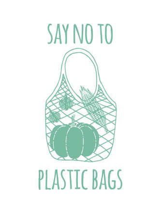 Vector hand drawn doodle sketch green eco string bag with vegetables and say no to plastic bag lettering isolated on white background 向量圖像