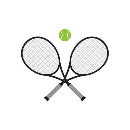 Vector flat cartoon crossed tennis racket and ball isolated on white background