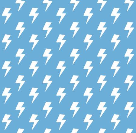 Vector seamless pattern of white  doodle lightning isolated on blue background Illusztráció