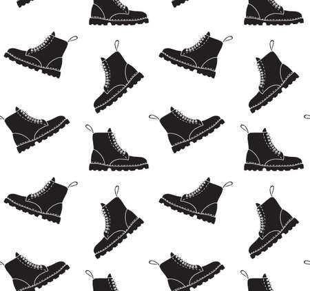 Vector seamless pattern of black  doodle  boot isolated on white background
