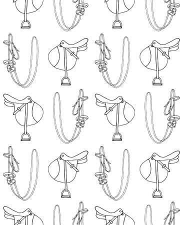 Vector seamless pattern of  doodle  equestrian horse riding equipment isolated on white background Illusztráció
