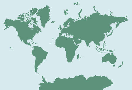 Vector  doodle  colored world map isolated on white background