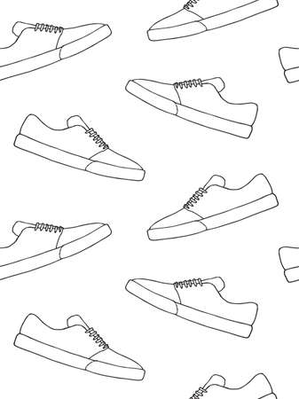 Vector seamless pattern of  doodle  skate sneaker shoe isolated on white background Illusztráció