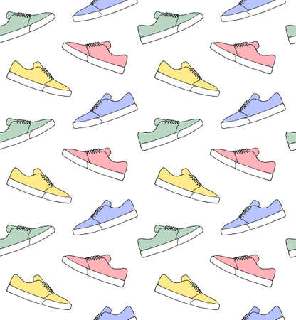 Vector seamless pattern of different color ddoodle  skate sneaker shoe isolated on white background Illusztráció
