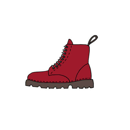 Vector  doodle  colored red boot isolated on white background Illusztráció