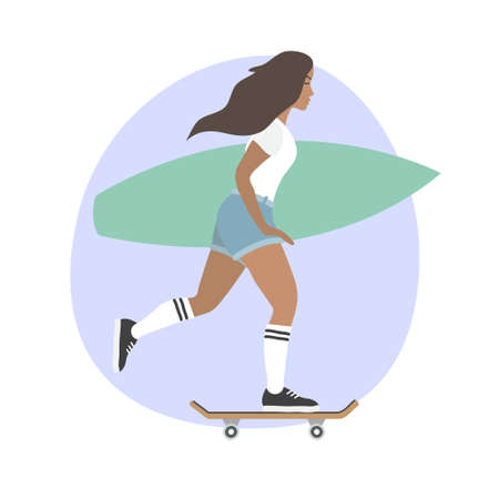 flat cartoon girl woman riding a skateboard with surfboard isolated on white background