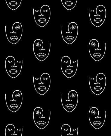 seamless pattern of white hand drawn doodle sketch female woman face isolated on black background Illusztráció
