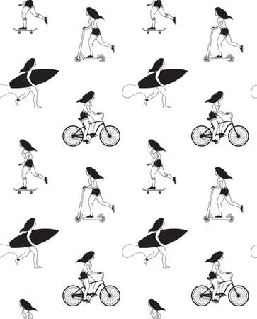 seamless pattern of different flat outline girl woman with surf board skateboard and bicycle isolated on white background Illusztráció