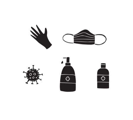 set bundle of black hand drawn doodle sketch coronavirus pandemic things isolated on white background