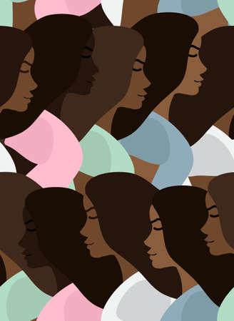 seamless pattern of flat cartoon different African woman girl