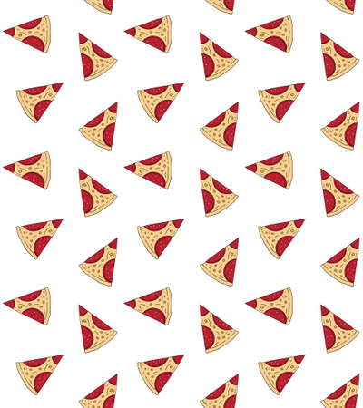 seamless pattern of hand drawn doodle sketch pepperoni pizza slice isolated on white background Illusztráció