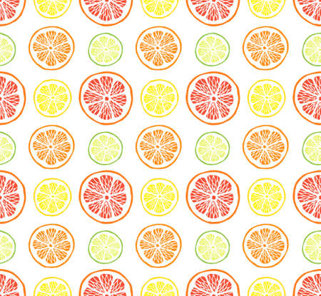 Vector seamless pattern of different hand drawn doodle sketch citrus fruit slices isolated on white background Stock fotó