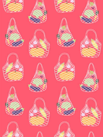 Vector seamless pattern of hand drawn doodle sketch eco string bag with vegetables products inside isolated on pink background Stock fotó