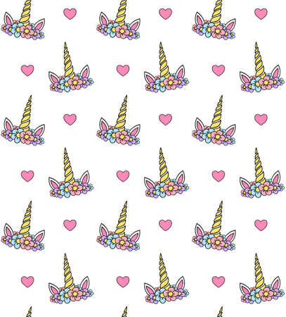 Vector seamless pattern of hand drawn doodle sketch colored unicorn head with hearts isolated on white background Stock fotó