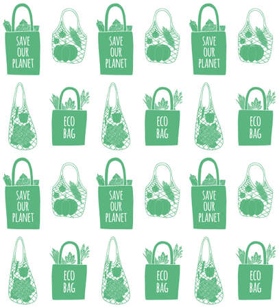 Vector seamless pattern of different hand drawn doodle sketch green eco bags with food products isolated on white background